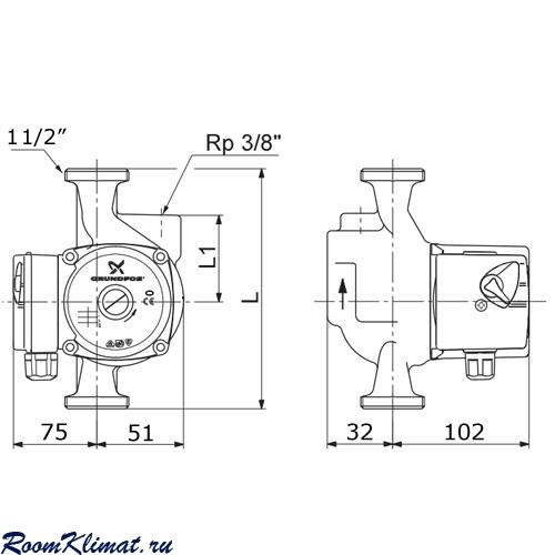Схема циркуляционного насоса Grundfos UPS 25-40 A.